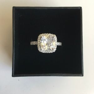 Sterling Silver 925 Crystal Engagement Ring New